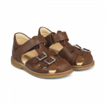 Sandal with adjustable velcro and buckles