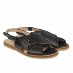 Sling-back sandal with hole pattern and buckle.