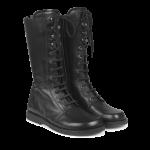 Lace-up boots w. zipper wide fit