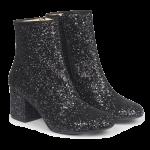 Block heel boot in glitter.
