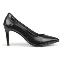 Pump with soft padded heel cap