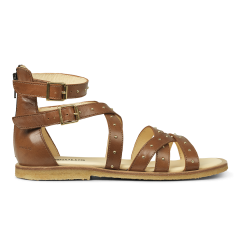 Sandal with studs and zipper