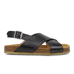 Sandal with soft foot bed and studs