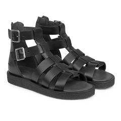 Sandal with zipper and buckle closure