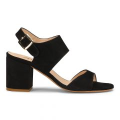 Block heel sandal with buckle