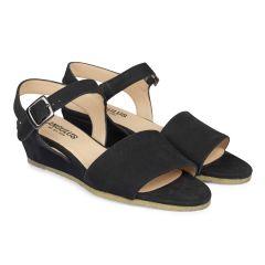 Wedge-heeled sandal with buckle