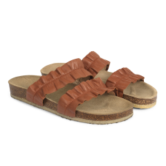 Sandal with foot bed and ruffles