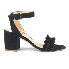 Sandal with block-heel and ruffles
