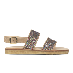 Sandal with buckle and plateau sole