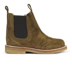 Chelsea boot with hole pattern and zipper