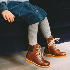 Lace-up boot with elastic and zipper
