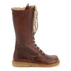Lace-up boots w. zipper