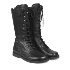 Lace-up boots w. zipper wide fit