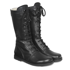Lace-up boots w. zipper and wool lining, wide fit