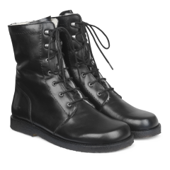 Lace-up boot w. wool lining, zipper wide fit