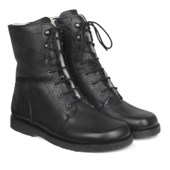 Lace-up boot w. zipper wide fit