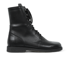 lace-up boot w. wool lining, zipper and wide fit