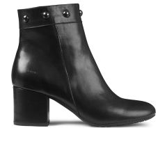 Block heel boot with zipper.