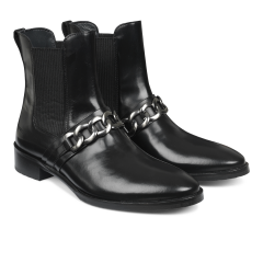 Chelsea boot with chain detail.