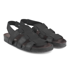Sandal with foot bed and elastic